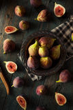 Raw Organic Brown Figs. In a Bowl Royalty Free Stock Image