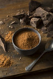 Raw Organic Dark Chocolate Cocoa Powder Stock Photography