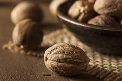 Raw Organic Dry Nutmeg Royalty Free Stock Photo