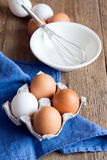 Raw organic eggs Royalty Free Stock Photo