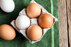 Raw organic eggs Stock Photo