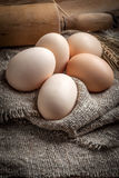 Raw organic farm eggs. Stock Photography