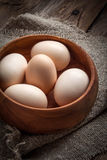 Raw organic farm eggs. Royalty Free Stock Image