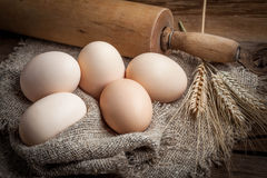 Raw organic farm eggs. Raw organic farm eggs on the old background Royalty Free Stock Images