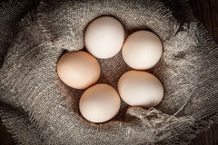 Raw organic farm eggs. Raw organic farm eggs on the old background Royalty Free Stock Photos