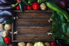 Raw organic fresh vegetables on wooden background. Autumn harvest, colorful vegetables, healthy lifestyle, top view, space for tex Royalty Free Stock Images
