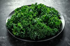 Raw organic freshly picked green curly kale in a plate Stock Photo