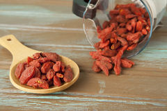 Raw organic Goji Berries with jar Stock Photos
