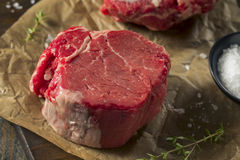 Raw Organic Grass Fed Filet Mignon Steak. With Salt and Herbs Royalty Free Stock Photo