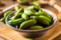 Raw Organic Green Finger Limes Stock Image