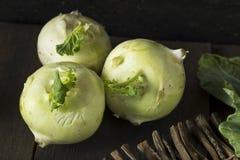 Raw Organic Green Kohlrabi. In a Bunch Royalty Free Stock Photography