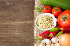 Raw Organic  hemp seeds and vegetables Stock Images