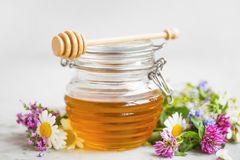 Raw organic honey jar with flowers Stock Images