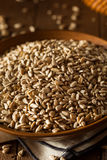 Raw Organic Hulled Sunflower Seeds. In a Bowl Royalty Free Stock Image