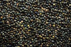 Raw organic marbled green lentils texture. Food ingredient background. Top view.  Royalty Free Stock Images