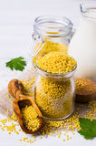 Raw organic millet. And a jug of milk on a light wooden background. Selective focus Royalty Free Stock Image