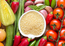 Raw Organic millet and vegetables Stock Image