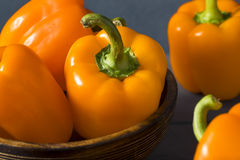 Raw Organic Orange Bell Peppers Stock Photo