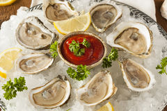 Raw Organic Oysters with Lemon Royalty Free Stock Image