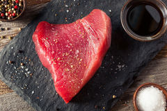Raw Organic Pink Tuna Steak Royalty Free Stock Images