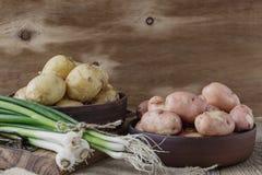 Raw organic potatoes and spring green onion, garlic.  Red potato Stock Photo