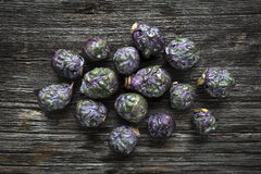 Raw Organic Purple Brussels Sprouts Stock Photo