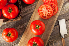 Raw Organic Red Beefsteak Tomatoes stock photos