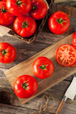 Raw Organic Red Beefsteak Tomatoes royalty free stock photography