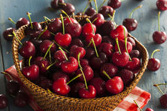 Raw Organic Red Cherries Stock Image