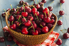 Raw Organic Red Cherries Stock Images