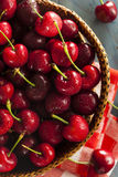 Raw Organic Red Cherries Stock Photo