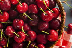 Raw Organic Red Cherries Stock Photos