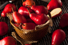 Raw Organic Red Pears Stock Image