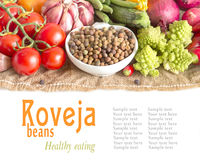 Raw organic roveja beans and vegetables Stock Image