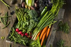 Raw Organic Spring Farmers Market Box Royalty Free Stock Image