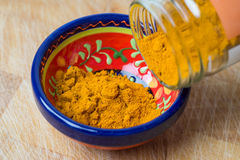Raw organic turmeric spice powder. Stock Photo