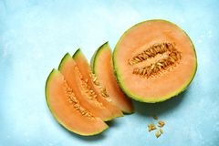Raw organic tuscan melon cantaloupe.Top view with copy space. royalty free stock image