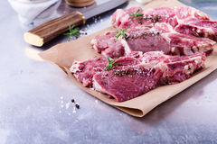 Raw organic veal chops Royalty Free Stock Image