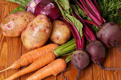 Raw Organic Vegetables. Mix of Raw Organic Farmer's Potato, Carrot, Red Onion and Beet on wooden background Royalty Free Stock Photos
