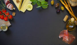 Raw organic vegetables with fresh ingredients for healthily cook. Ing on vintage background, top view, banner. Background layout with free text space Stock Photography