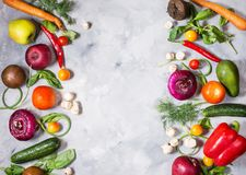 Raw organic vegetables with fresh ingredients for healthily cooking on concrete background, top view. Vegan or diet food. Concept. Copy space Royalty Free Stock Photos