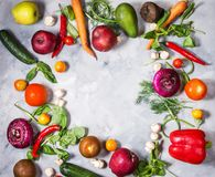 Raw organic vegetables with fresh ingredients for healthily cooking on concrete background, top view. Vegan or diet food. Concept. Copy space Stock Photography