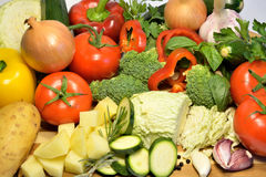 Raw organic vegetables, healthy diet food. Soup ingredients Stock Photos