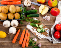 Raw organic vegetables. Healthy Food background. Diet eating. Top view Royalty Free Stock Photo