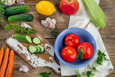 Raw organic vegetables. Healthy Food background. Top view Stock Photos