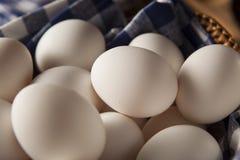 Raw Organic White Eggs Stock Photo