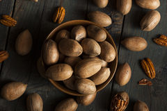 Raw Organic Whole Pecans Stock Image