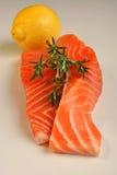 Raw organic wild salmon steak Stock Photography