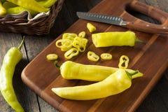 Raw Organic Yellow Banana Peppers Stock Image