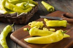 Raw Organic Yellow Banana Peppers Royalty Free Stock Image